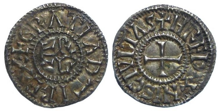 Ancient Coins - Carolingian, Charles the Bald. AD 840 to 870. King of the West Franks. Silver denier.