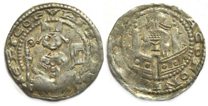 Ancient Coins - Germany, Koln.  Philipp von Heinsberg, AD 1167 to 1191.  Silver denier.