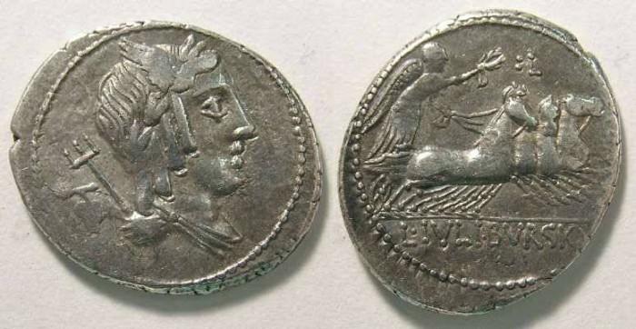 Ancient Coins - Roman Republic. L. Julius Bursio. ca. 85 BC.
