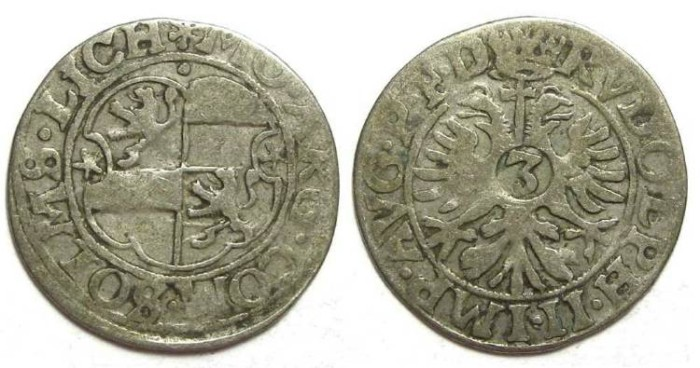 Ancient Coins - Germany, Solms-Lich. Anonymous. Silver 3 Kreuzer. not dated (ca. 1590 to 1610)