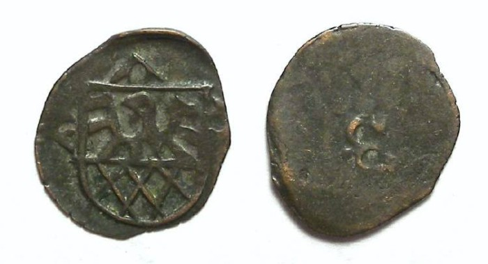 Ancient Coins - Austria.  Eger city coinage.  15th century.  Billon pfennig.