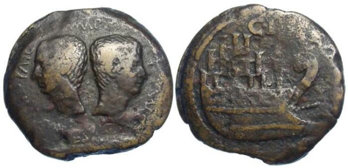 Ancient Coins - Colonia Julia Viennensis (Vienna).  Octavia.  ca. the 30's BC.  AE dupondius.  Portrait of Julius Caesar.