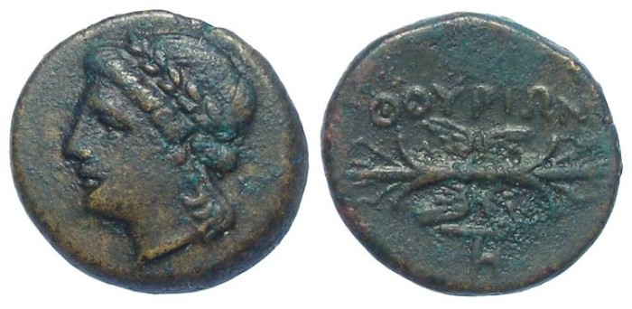 Ancient Coins - Thourioi in Lucania.  ca. 300 to 268 BC.  AE 15.