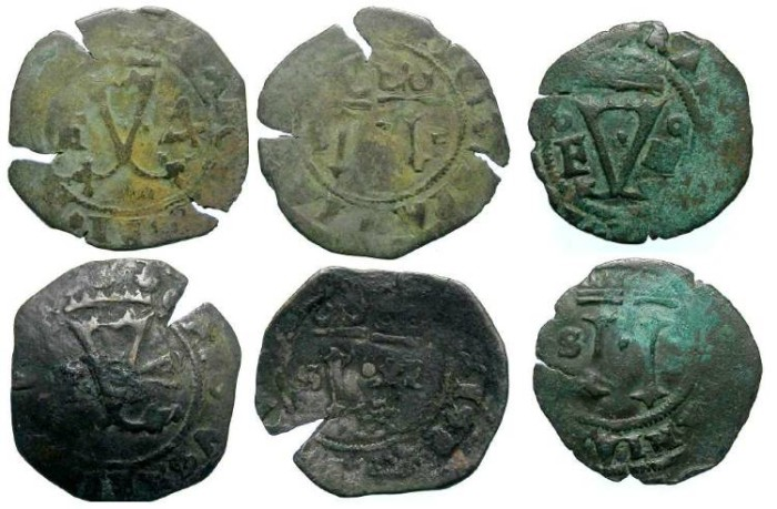 Ancient Coins - Spanish Colonial. Santa Domingo. ca. AD 1540's to 1550's. AE 4 maravedes. First Coin of the Caribbean. Dealer lot of 3 coins.