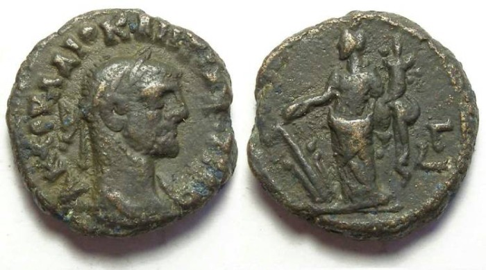 Ancient Coins - Alexandria, Diocletian, AD 284 to 305, Yr-3 potin tetradrachm. 19 mm.