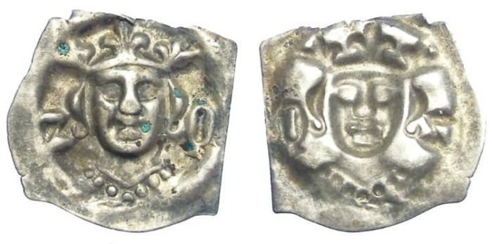 Ancient Coins - Swiss, City of Zofingen. Albrecht II, AD 1330 to 1358.  Silver Bracteate pfennig.