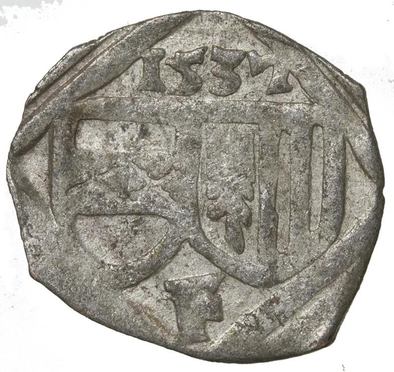 World Coins - Austria, Ferdinand I, 1521 to 1564, billon pfennig. Dated 1537