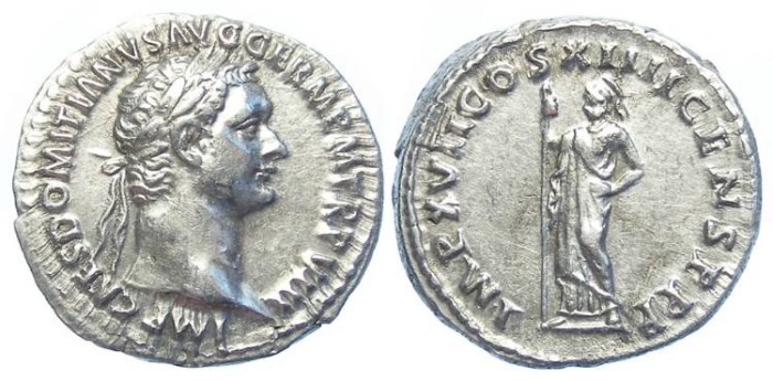 Ancient Coins - Domitian, as Augustus, AD 81 to 96.  Silver denarius.
