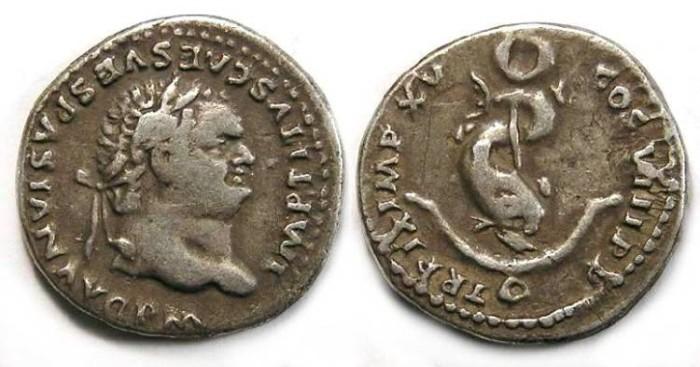 Ancient Coins - Titus, AD 79 to 81. Silver denarius.