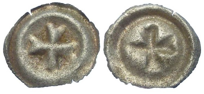 Ancient Coins - Teutonic Knights in East Prussia.  Anonymous AR Bracteat.  mid 13th century.