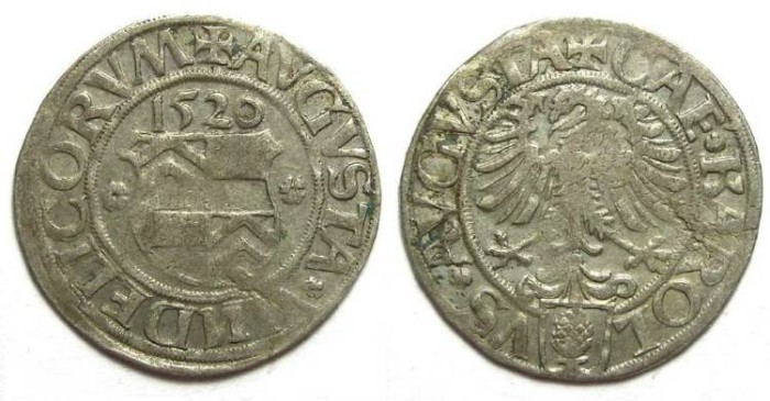 Ancient Coins - Germany, Augsburg city coin.  Eberhard IV, 1481-1535.  1/2 Batzen dated 1520.