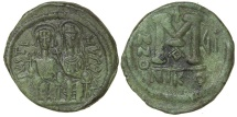 World Coins - Byzantine, Justin II and Sophia, AD 565 - 578. Bronze follis.