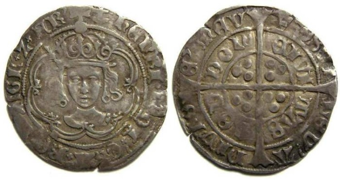 Ancient Coins - English, Henry VII, AD 1489 to 1509. Silver groat.