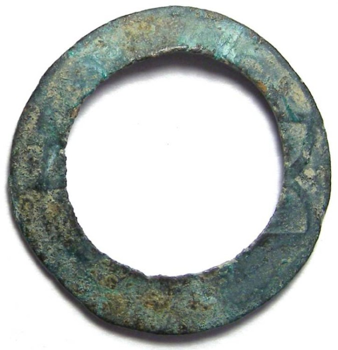 Ancient Coins - China. Western Han Dynasty or later (100 BC to AD 600). S-304.  Thread ring Wu Shu.