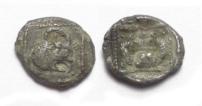 Ancient Coins - Samaria.  ca. 375 to 333 BC.  Silver obol.