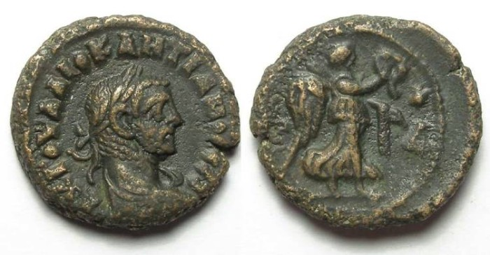 Ancient Coins - Alexandria, Diocletian, AD 284 to 305, Yr-4 potin tetradrachm. 18.5 mm.