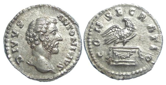 Ancient Coins - Divus Antoninus Pius, struck by Marcus Aurelius in AD 161.  Silver denarius.  Superb example.