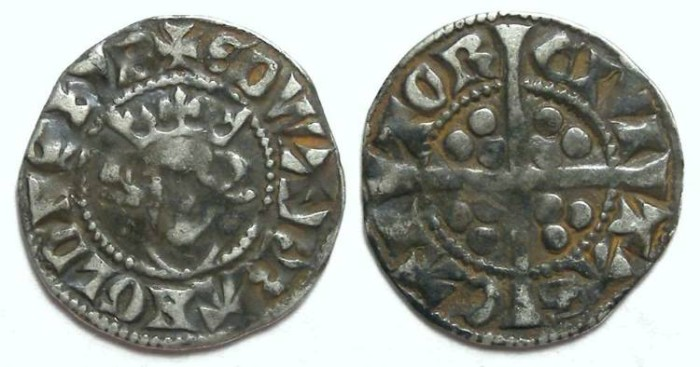 Ancient Coins - English, Edward I, AD 1272 to 1307. Silver penny.