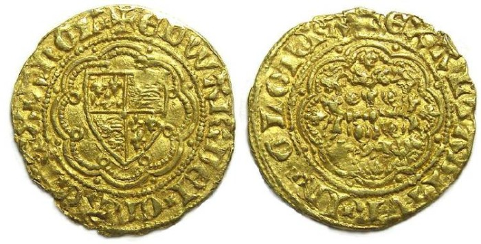 Ancient Coins - English, Edward III, AD 1327 to 1377. Gold 1/4 Noble.