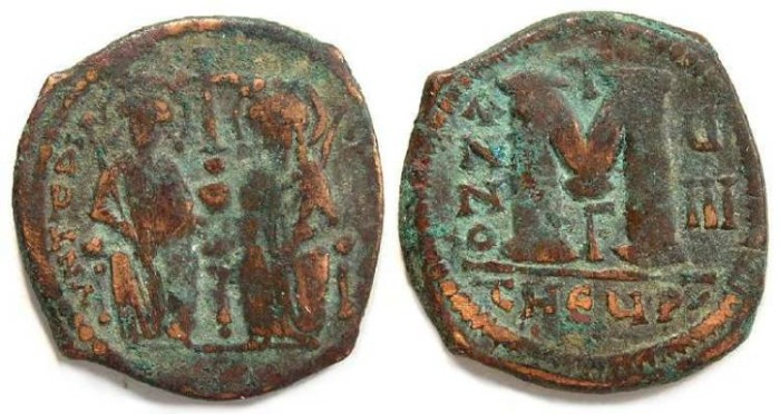 Ancient Coins - Byzantine, Justin II and Sophia, AD 565 - 578. Bronze follis.