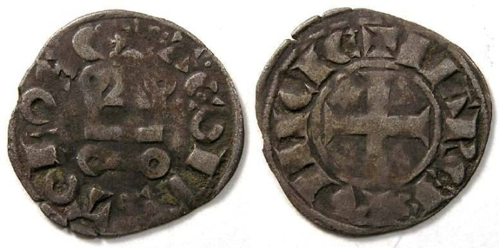 Ancient Coins - France Feudal. Provence & Marquisat, Alfonse,  AD 1249 to 1271. Silver denier.