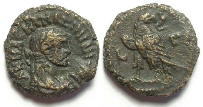 Ancient Coins - Alexandria, Maximianus, AD 286 to 305, Yr-3 potin tetradrachm. 18.5 mm.