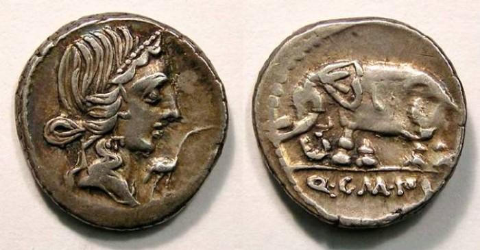 Ancient Coins - Roman Republic. Q. Caecilius Metallus Pius, as Imperator.  81 BC.  Silver Denarius.