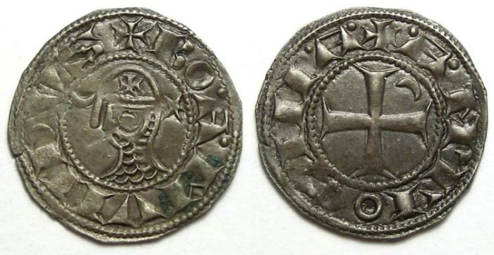 Ancient Coins - Crusaders at Antioch. Denier in name of Bohemond. 12th to 13th century