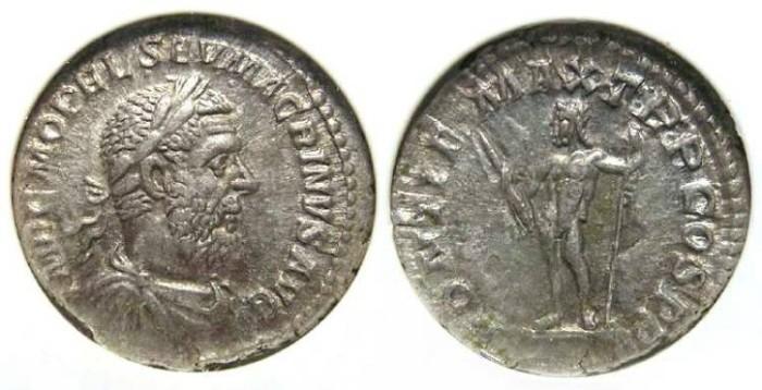 Ancient Coins - Macrinus. AD 217 to 218. Silver denarius.