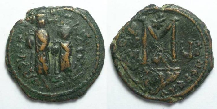 Ancient Coins - Byzantine.  Heracleus follis over struck on a Focus follis.  Nice over strike.