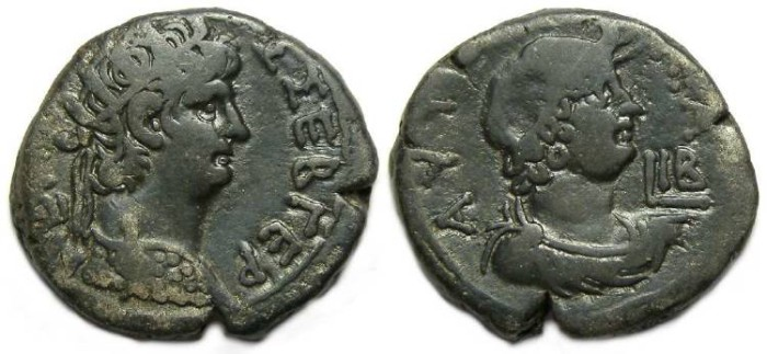 Ancient Coins - Nero, AD 54 to 68. Billon Alexandian tetradrachm.