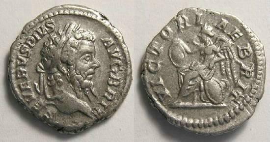Ancient Coins - Septimius Severus, AD 193 - 211, Silver denarius. Victory over Britian.