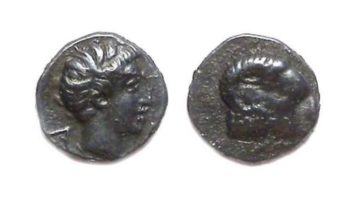 Ancient Coins - Caria, Halikarnassos, ca. 450 to 340 BC, silver hemiobol.