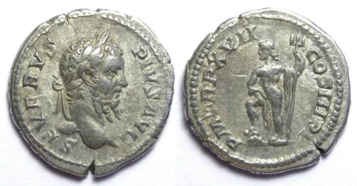 Ancient Coins - Septimius Severus, AD 193 to 211, Silver denarius.   Full Strike.