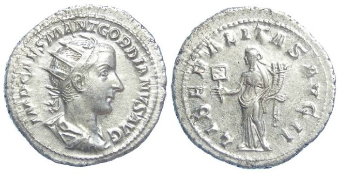 Ancient Coins - Gordian III, AD 238-244. Silver Antoninianus.  Large flan medallic strike.
