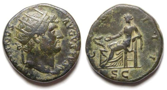 Ancient Coins - Hadrian, AD 117 to 138.  Bronze Dupondius.
