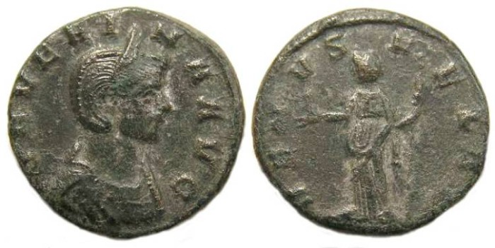 Ancient Coins - Severina, wife of Aurelian.  AD 270 to 275.  Bronze denarius.