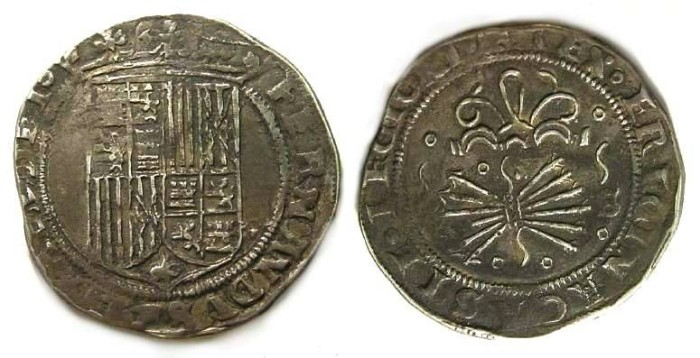 Ancient Coins - Spain, Kingdom of Castile, Ferdinand and Isabella, AD 1474 to 1504, 1 real.