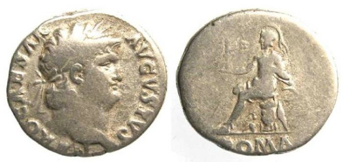 Ancient Coins - Nero, AD 54 to 68. Silver denarius.