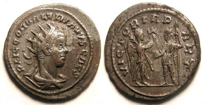 Ancient Coins - Valerian II, AD 253 to 255. Billon Antoninianus