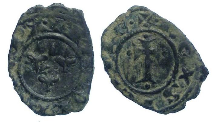 World Coins -  Italy. Kingdom of Sicily. Charles I of Anjou.  AD 1266 to 1282.  Billon Denaro.