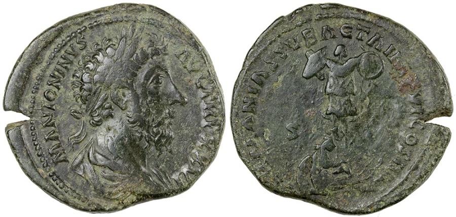Ancient Coins - Marcus Aurelius.  AD 161-189.  AE sestertius.  Germania