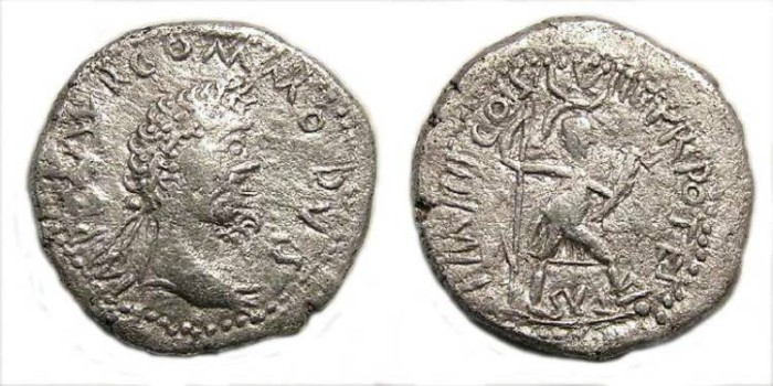 Ancient Coins - Barbarous imitation of a Commodus/Hadrian/Domitian denarius.
