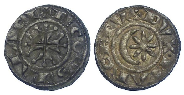 World Coins - France Feudal. Provence Marquisat. Raymond VII of Toulouse, AD 1222 to 1249. Billon denier.