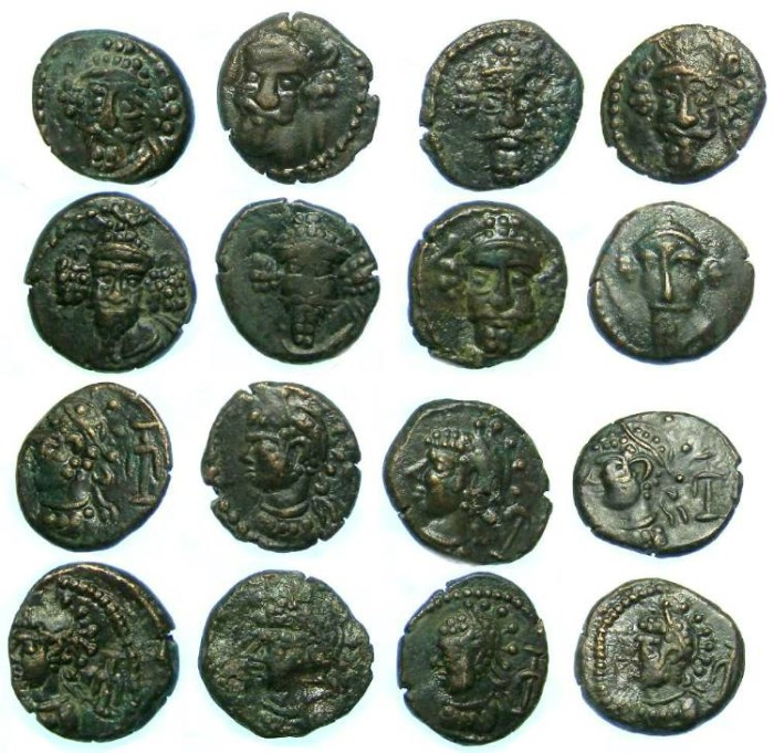 "Ancient Coins - Elymaids. Unknown Prince ""C"". early 3rd century AD. Bronze drachms.  Dealer lot of 8 coins."