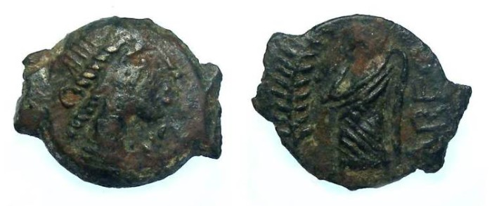 Ancient Coins - Celtic, Gaul. Volcae Arecomici, 1st century BC.  AE 13.