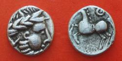 Ancient Coins - CELTIC EASTERN EUROPE. IMITATING PHILIP II of MACEDONIA  R!, cealtic kugelwange (ball cheek)
