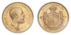 World Coins - Sweden Oscar II 1874 ST Gold 20 Kronor Uncirculated