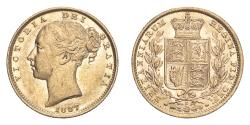 World Coins - Australia Victoria 1887 S Gold Sovereign Shield Extremely fine