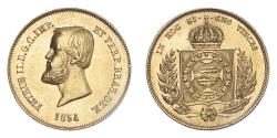 World Coins - Brazil Pedro II 1854 Gold 5000 Réis Good extremely fine